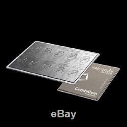 1 x 10 x 10 gram silver bar Valcambi CombiCoin Cook Islands legal tender