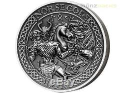 $10 Dollar Norse Gods Loki Ultra High Relief Cook Islands 2 oz Silver 2015