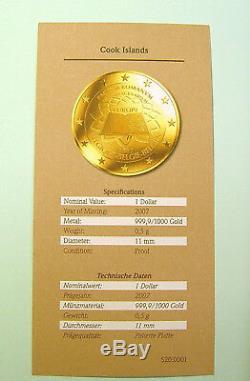 16x 1 Dollar 2007 Cook Islands komplett Serie Römische Verträge je 0,5 g Gold