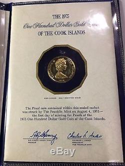 1975 Cook Islands $100 Proof Gold Coin Captain James Hook 900 Fine Gold