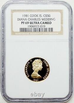 1981 Cook Islands Gold ROYAL WEDDING DIANA Royal Mint NGC PF 69 Low Mint