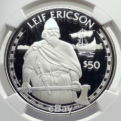 1988 COOK ISLANDS Proof Silver 50 Dollars Coin VIKING LEIF ERICSON NGC i72132