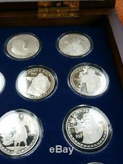 1988 Cook Islands Coins Of The Great Explorers 25-coin Set Chest Sterling Silver