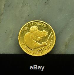 1991 Cook Islands $25 Proof Endangered Wildlife Series Koala. 999 Gold