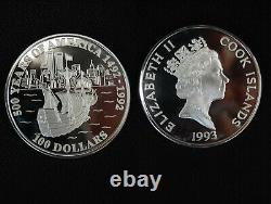1992 Cook Islands 100 Dollars Silber 5oz Feinsilber 999 PP (proof) 63702