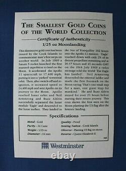 1995 Cook Islands 1/25oz Gold coin Moonlanding in Capsule with COA