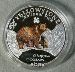 1996 Cook Islands $25 Grizzly Bear Yellowstone Park 5 Oz Silver Coin Proof #4356