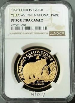 1996 Gold Cook Islands $250 1 Oz Yellowstone National Park Ngc Proof 70 Uc 2/0