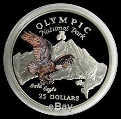 1996 Silver Cook Islands $25 Olympic Park Bald Eagle 5 Oz Coin Proof Condition