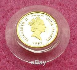 1997 Cook Islands Gold Diana Princess Of Wales $5 Proof Coin And Coa