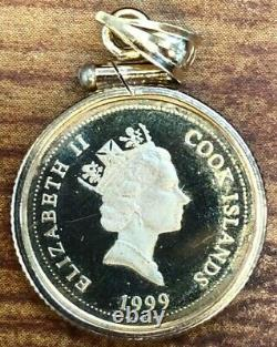 1999 Cook Islands $5 Garfield Gold Proof 14k Gold Coin in 14k Gold Bezel