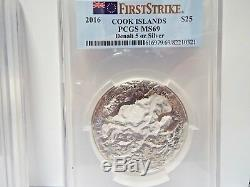 2 Pieces 2016 $25 Cook Islands 7 Summits Denali 5oz. 999 Silver PCGS MS70&69