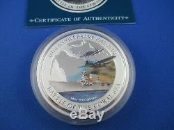 2002 $10 COOK ISLANDS BATTLE OF THE CORAL SEA 10oz Silver Proof Coloured Coin