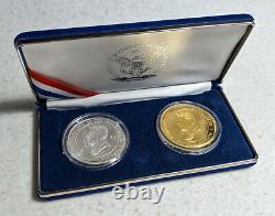 2004 Cook Islands Ronald Reagan Gold & Silver 2 Coin Set $200 1oz 999 Gold