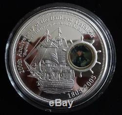 2005 SILVER PROOF 5OZ COOK ISLANDS $10 COIN BOX + COA BATTLE OF TRAFALGAR 200th