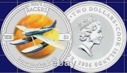 2006 Cook Islands $2 1930's Racer Series 4 X 1oz Silver coin Set