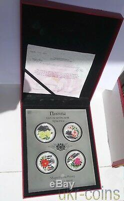 2008 Cook Islands Peony Flowers 4-Coin Silver Proof Color Set 4x1Oz Flora $1 WWF