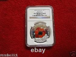 2009 Cook Island Is Poppy Flower In Cloisonne. 999 Silver & Gold Coin NGC PF 69