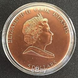 2009 Cook Islands Martian Meteorite $5 silver copper-plated Coin