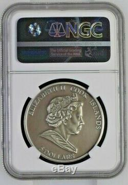 2010 Cook Islands Silver $5 HAH 280 Meteorite MS70 ANTIQUED NGC Coin POP=6