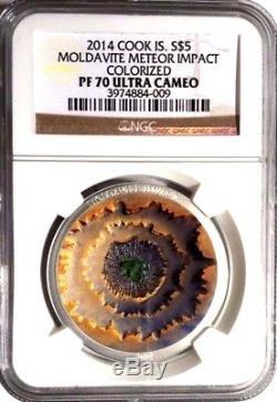 2014 Cook Islands $5 Moldavite Meteor Impact NGC PF70 UC Silver 1OZ Coin