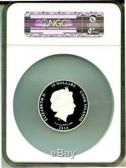 2014 Cook Islands Silver $10 Galileo Galilei Anniversary PF70 UC NGC Coin