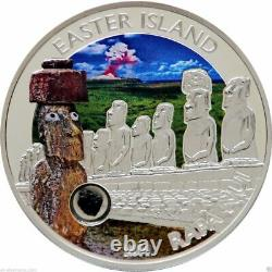 2014 Easter Island Rapa Nui Moai Silver Coin $5 Cook Islands with lava insert