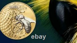 2014 Shades of Nature Honey Bee $5 Silver Coin Cook Islands