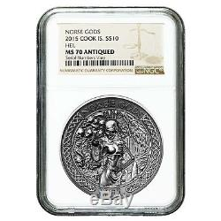2015 2 oz Cook Islands Silver Norse Gods Hel Ultra High Relief NGC MS 70 Antique
