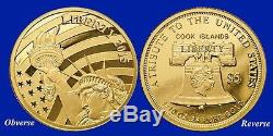 2015 $5 LIBERTY 1/10 OZ. 24 PURE GOLD COIN COOK ISLANDS