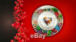 2015 Cook Islands $5 Murrine Millefiori Glass Art Venetian Murano Silver Coin PP