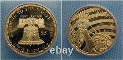 2015 Cook Islands Proof 1/10 oz 0.24 Pure Gold Coin Statue of Liberty Bell $5