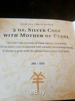 2015 Cook Islands Year Of The Goat 5 Oz Silver Proof With Mother Of Pearl #366