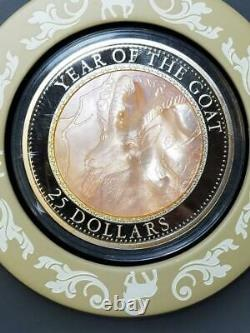 2015 Year of the Goat Cook Islands $25 5 oz Silver