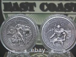 2016 $10 Cook Islands Norse Gods 2oz Silver Coin Antique Finish Box & COA's #CF