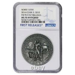 2016 2 oz Cook Islands Silver Norse Gods Freyr Ultra High Relief NGC MS 70