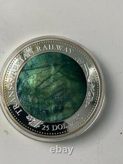 2016 $25 COOK ISLAND silver mother of pearl TRANS-SIBERIAN RAILWAY