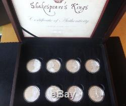 2016 8 X Silver Proof Cook Islands Coin Box Set + Coa William Shakespeare Kings