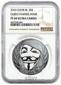 2016 Ck Islands $5 1 oz Enameled PF Silver Guy Fawkes Mask NGC PF69 UC SKU46140