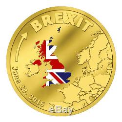 2016 Cook Islands $20 1/10 Oz. 9999 Fine Proof Gold Brexit Coin PRESALE SKU41689