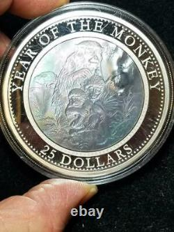 2016 Cook Islands 5 oz 999 Silver Year of the Monkey $25 Mother of Pearl