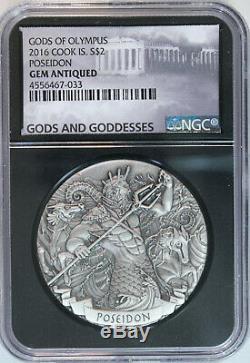 2016 Cook Islands POSEIDON $2 Gods of Olympus 2 Oz Silver HR Antiqued NGC GEM BU