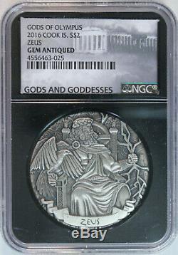 2016 Cook Islands ZEUS $2 2oz. 999 Silver Gods of Olympus HR Antiqued NGC GEM BU