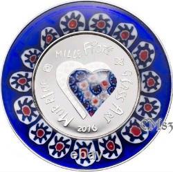 2016 MURRINE MILLEFIORI GLASS ART Venetian Murano Silver Coin 5$ Cook Islands