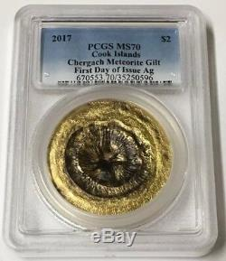 2017 $2 PCGS MS 70 Cook Islands Chergach Meteorite Gilded. 999 Silver Coin