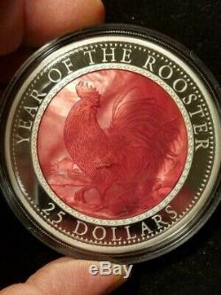 2017 $25 Cook Islands Year of the Rooster Limited Mintage of 888 5 oz 999 Silver