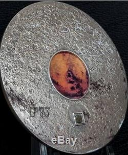 2017 3 Oz Silver $20 MARS THE RED PLANET METEORITE Coin, COOK ISLAND