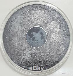 2017 3 Oz Silver MOON EARTH SATELLITE Meteorites Coin $20 Cook Island