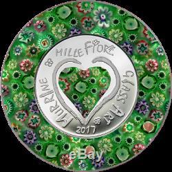 2017 $5 Cook Islands Murrine Millefiori Glass Art Silver Proof Coin