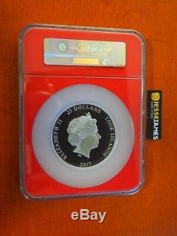 2017 5 Oz Proof Silver Spiderman Ngc Pf70 Mercanti First Day Issue Cook Islands
